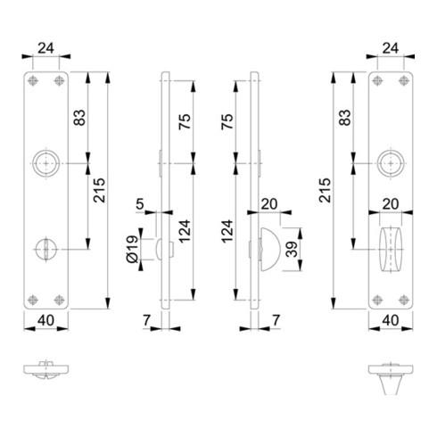 Hoppe Langschild-Paar 202SP F1/ naturf. F1 Bad SK/OL 78mm