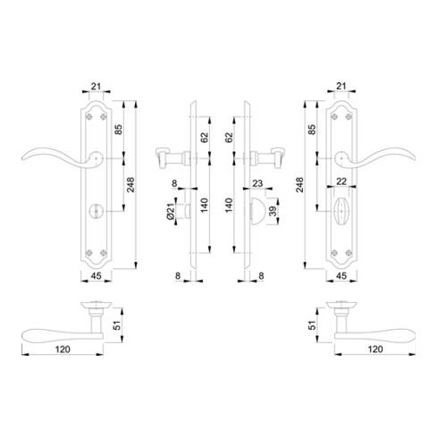Hoppe Langschildgarnitur Almeria M166SN/2700 MS F71 Bad SK/OL 78mm DIN R