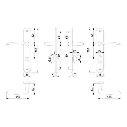 Hoppe Langschildgarnitur Istanbul M171/332P MS F71 Bad SK/OL 78mm DIN L