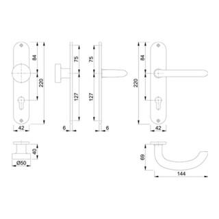 Hoppe Langschildgarnitur Mar.E58/302/1138Z VA F69 PZ 72mm DIN L/R