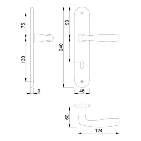 Hoppe Langschildgarnitur Vitória 1515/273P Alu. F1 OB 72mm DIN L/R