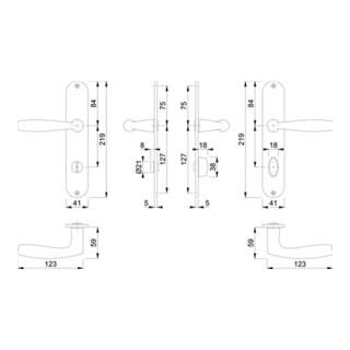 Hoppe Langschildgarnitur Vitória M1515/302 MS F71 Bad SK/OL 78mm DIN L/R