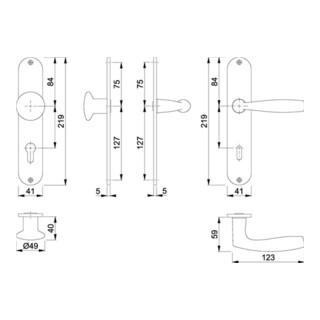 Hoppe Langschildgarnitur Vitória M90/302/1515 MS F71 PZ 72mm DIN L/R