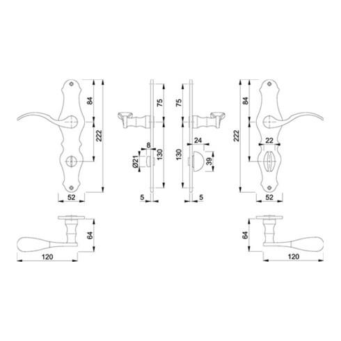 Hoppe Langschildgarnitur Weimar M112SLN/2007 MS F73 Bad SK/OL 78mm DIN L/R