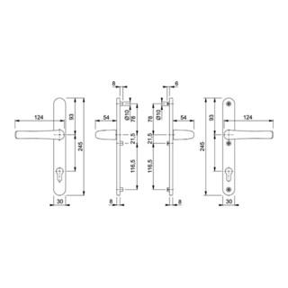 Hoppe Profiltür-Drückergarnitur Tokyo Aluminium
