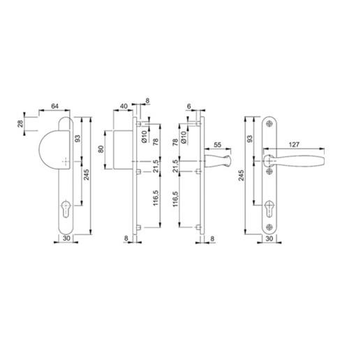 Hoppe Profiltür-Wechselgarnitur New York 554/3346/1810 Alu. F1 PZ f. TS 67-72mm