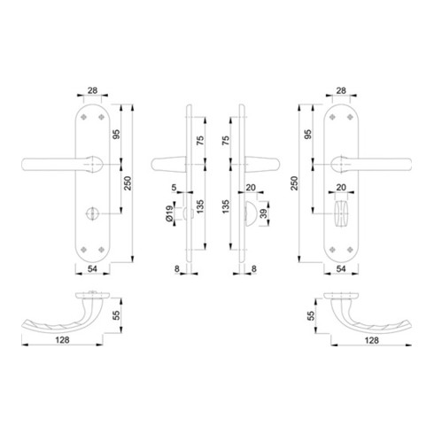 Hoppe Renovationsgarnitur Tôkyô 1710/3334 Alu.F1 BAD SK/OL 4-KT.8mm Entf.78mm