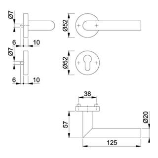 Hoppe Rosetten-Garnitur Ams.E1400/42H/42HKVS VA F69 rd.PZ DIN L/R D/D