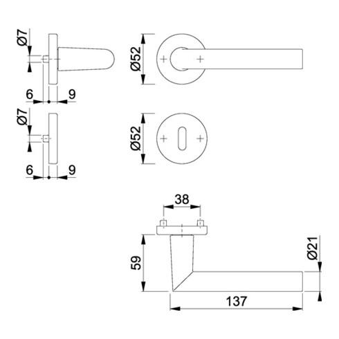 Hoppe Rosettengrt.Ams.1400/42KV/42KVS Alu.F1 rd.OB DIN L/R D/D