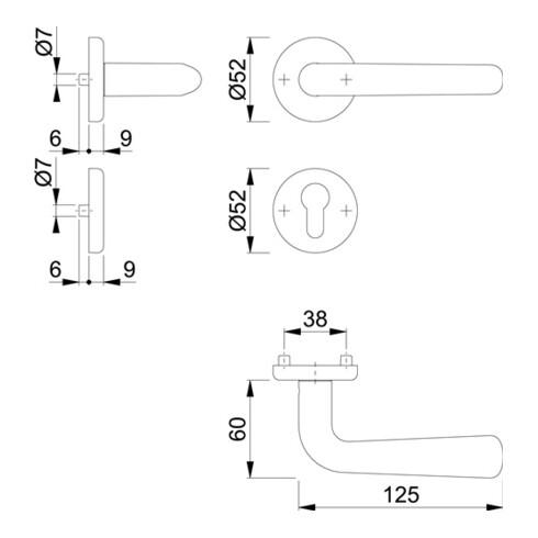 Hoppe Rosettengrt.Hel.E1730Z/17KV/17KVS VA F69 rd.PZ DIN L/R D/D