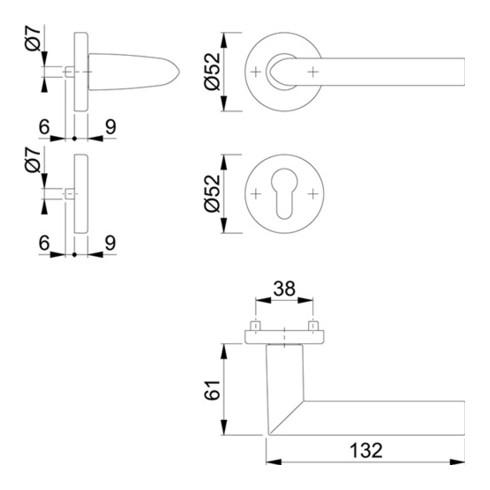 Hoppe Rosettengrt.Stock.1140/42KV/42KVS Alu.F1 rd.PZ DIN L/R D/D
