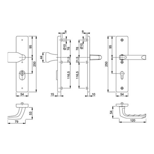 Hoppe Schutz-Drückergarnitur London 78G/2222ZA/2410/113 ES1 PZ ZA Entf. 92mm VK 10mm