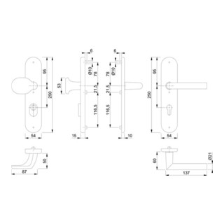 Hoppe Schutzgarnitur Ams.86G/3332ZA/3310/1400 Alu.F1 92mm 67-72mm