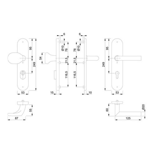 Hoppe Schutzgarnitur Ams.E86G/3332ZA/3310/1400Z VA F69 72mm 42-47mm