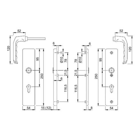 Hoppe Schutzgarnitur London 113/2221A/2440 Alu.F1 72mm 37-42mm