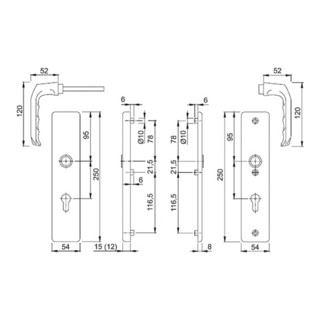 Hoppe Schutzgarnitur London 113/2221A/2440 Alu.F2 92mm 67-72mm