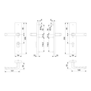 Hoppe Schutzgarnitur London 113/2222ZA/2210 Alu.F2 72mm 42-47mm