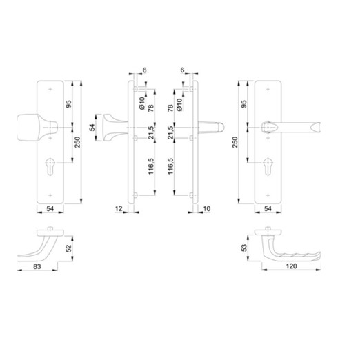 Hoppe Schutzgarnitur London 61G/2221/2210/113 Alu.F2 92mm 67-72mm