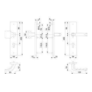 Hoppe Schutzgarnitur London 61G/2221/2210/113 Alu.F4 72mm 42-47mm