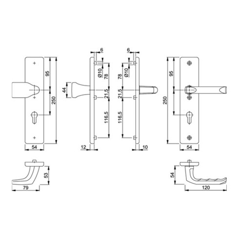 Hoppe Schutzgarnitur London 78G/2221/2410/113 Alu.F1 72mm 41-46mm