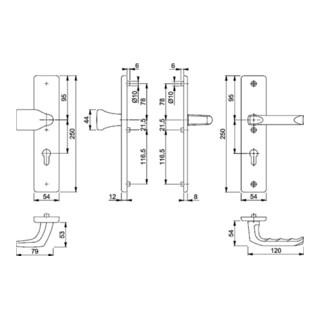 Hoppe Schutzgarnitur London 78G/2221A/2440/113 Alu.F2 72mm 37-42mm