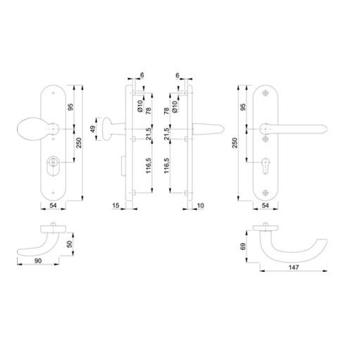 Hoppe Schutzgarnitur Mar.76G/3332ZA/3410/1138 Alu.F1 92mm 67-72mm