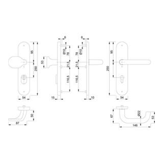 Hoppe Schutzgarnitur Paris 86G/3332ZA/3310/138 Alu.F4 92mm 67-72mm