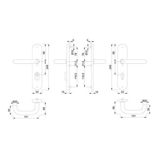 Hoppe Schutzgarnitur Paris E138Z/3332ZA/3310 VA F69 92mm 67-72mm