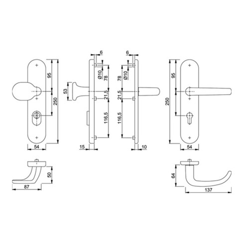 Hoppe Schutzgarnitur San Fran.86G/3332ZA/3310/1301 Alu.F1 72mm 42-47mm