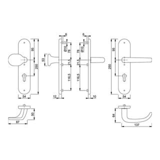 Hoppe Schutzgarnitur San Fran.E86G/3331/3310/1301Z VA F69 72mm 42-47mm