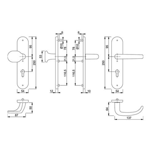 Hoppe Schutzgarnitur San Fran.E86G/3331/3310/1301Z VA F69 92mm 67-72mm