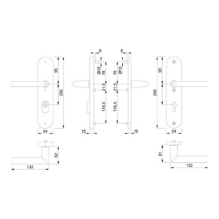 Hoppe Schutzgarnitur Stock.1140/3332ZA/3410 Alu.F1 72mm 42-47mm