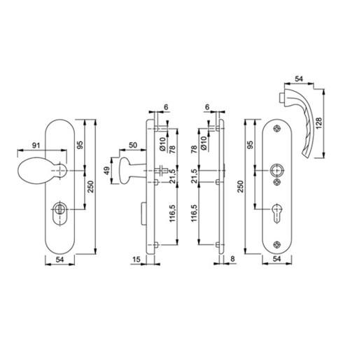 Hoppe Schutzgarnitur Tôkyô 1710/3332ZA/3410 Alu. F1 72mm 41-46mm