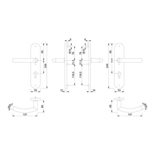 Hoppe Schutzgarnitur Tro.E1430Z/3331/3310 VA F69 92mm 67-72mm