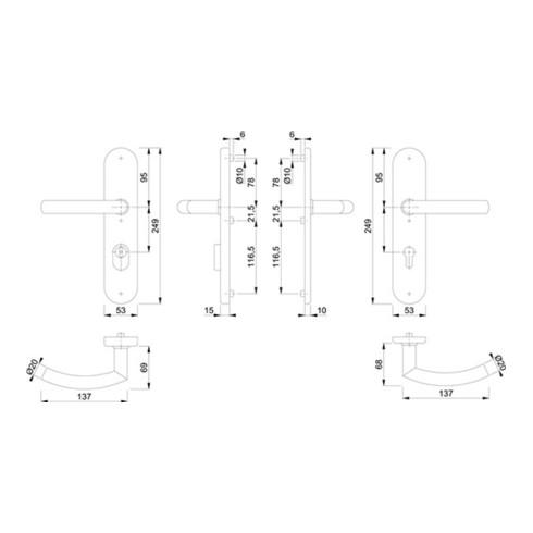 Hoppe Schutzgarnitur Tro.E1430Z/3332ZA/3310 VA F69 92mm 67-72mm