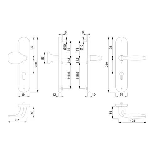 Hoppe Schutzgarnitur Verona 86G/3331/3310/1510 Alu.F1 92mm 67-72mm