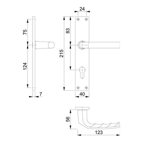 Hoppe Zylinderschloss Langschildgarnitur Birmingham 1117/202SP Alu. F2 PZ 72mm DIN L/R