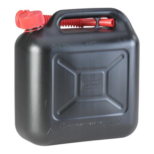 Hünersdorff Kraftstoff-Kanister STANDARD 10 L, HDPE schwarz, mit UN-Zulassung, rotes Zubehör