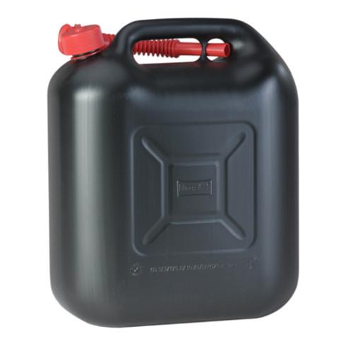 Hünersdorff Kraftstoff-Kanister STANDARD 20 L, HDPE schwarz, mit UN-Zulassung, rotes Zubehör