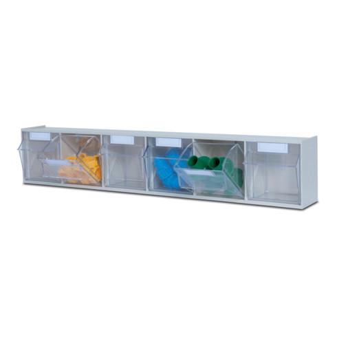Hünersdorff MultiStore Wand-Set 30 Klarsichtbehälter hochschlagfestem Kunststoff, lichtgrau