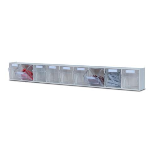 Hünersdorff MultiStore Wand-Set 33 Klarsichtbehälter hochschlagfestem Kunststoff, lichtgrau