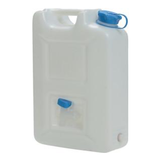 Wasserkanister HD-PE natur mit integriertem Auslaufhahn, 20 Liter