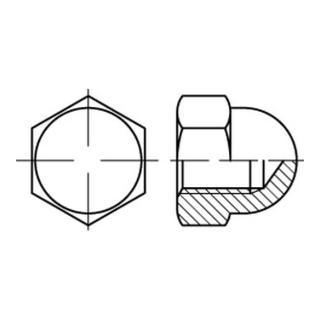 Hutmutter DIN 1587 M 3 x 0,5 Stahl galvanisch verchromt