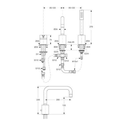Ideal Standard Dreiloch-Wannenrandbatterie NEON chrom