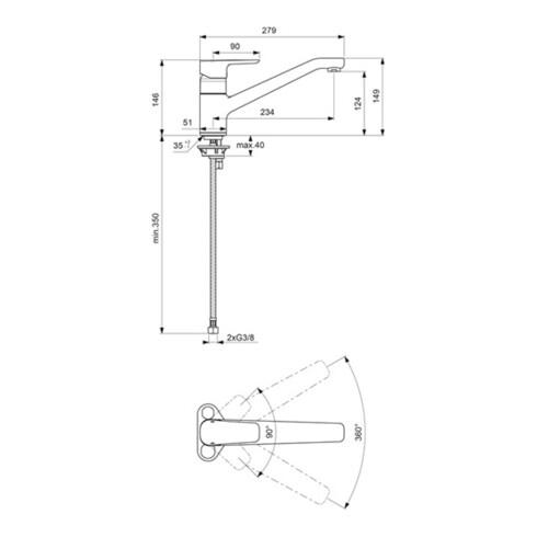 Ideal Standard Einhebel-Küchenarmatur CERAPLAN III DN 15 chrom