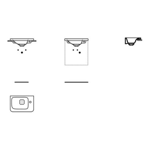 Ideal Standard Handwaschbecken TONIC II 460 x 310 mm, Ablage rechts weiß