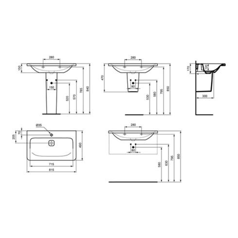 Ideal Standard Möbelwaschtisch TONIC II 815 x 490 mm weiß