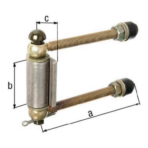 Justierbare Torgehänge schwer M16 L.180mm Pfosten b. 120mm D./4-KT. GAH