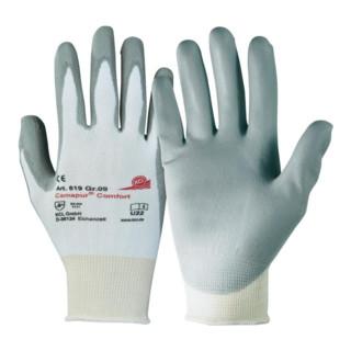 KCL Handschuhe Camapur Comfort nahtloses Trikot mit PU-Beschichtung weiß/grau