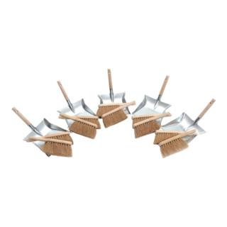 Kehrschaufelset m.Holzgriff bestehend a.10 Handfegern u.5 Kehrschaufeln SOREX